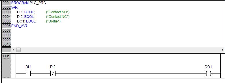 programmation d'un contact NO en serie avec un contact NC en ladder