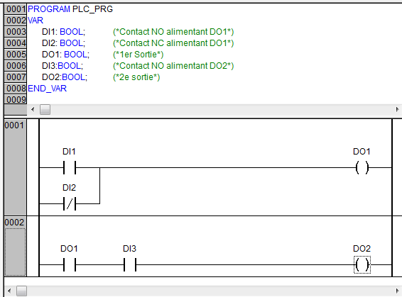 Utiliser le contact d'une sortie en ladder sous codesys