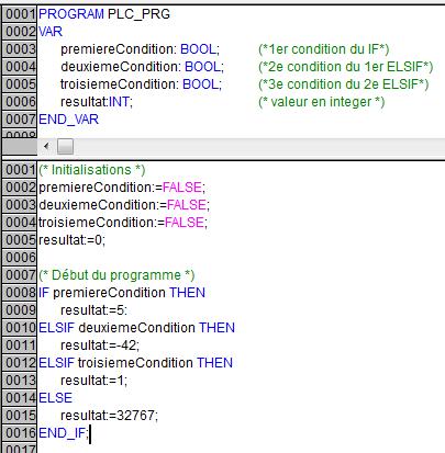 Exemple de IF, ELSIF et ELSE