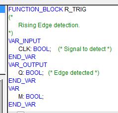 Variables de la fonction R_TRIG sous codesys.