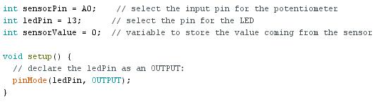 Arduino analog input: declaration des variables
