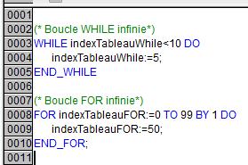 Exemple de boucles infinies