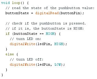 Programmation de la fonction loop arduino du programme button